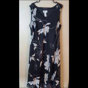 Studio  Black Floral Sleeveless Chiffon Maxi Dress